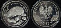 20 Zlotych 1996 Polen Bedrohte Tierarten - Igel PP*/min.Pat.  240,00 EUR  zzgl. 5,00 EUR Versand