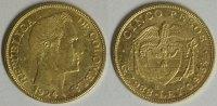 5 Pesos 1924 B Kolumbien Republik f.vz  370,00 EUR kostenloser Versand