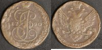 5 Kopeken 1790 EM Russland Katharina II. -St. Petersburg  s-ss, Rf.  30,00 EUR  zzgl. 5,00 EUR Versand