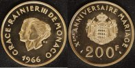 200 France 1966 Monaco Grace Kelly & Rainier III. vz-st  1350,00 EUR