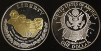1 Dollar 1991 USA Mount Rushmore PP, teilvergoldet  20,00 EUR  zzgl. 5,00 EUR Versand