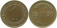 Weimarer Republik  1930 G  1 Pfennig  1930G vz 3,00 EUR 