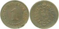 Kaiserreich  1 Pfennig  1886F ss/vz Korr. am Rand
