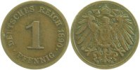Kaiserreich  1890 G  1 Pfennig  1890G ss 3,60 EUR 