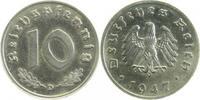 10 Pfennig 1947 D  1947D Eisen Ni plattiert   1050,00 EUR  +  10,00 EUR shipping