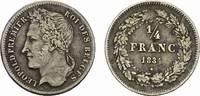 1/4 Franc 1834. BELGIEN Leopold I., 1830-1865. Sehr schön.  95,00 EUR  Excl. 6,70 EUR Verzending
