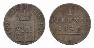 WALDECK Pfennig GRAFSCHAFT, SEIT 1713 FRSTENTUM Georg Heinrich, 1813-1845.