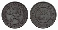 BELGIEN 25 Centimes 1915. Vorz&uuml;glich. I. Weltkrieg 15,00 EUR 