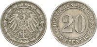 20 Pfennig 1890, F. Deutsches Reich  Fast vorzüglich  90,00 EUR  zzgl. 4,50 EUR Versand