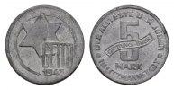 5 Mark 1943. GETTO LITZMANNSTADT  Vorzüglich +  220,00 EUR  zzgl. 4,50 EUR Versand