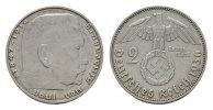 2 Reichsmark 1936, J. DRITTES REICH  Fast vorzüglich.  110,00 EUR  excl. 6,70 EUR verzending