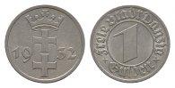 1 Gulden 1932. DANZIG  Fast vorzüglich.  95,00 EUR  zzgl. 4,50 EUR Versand