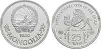 25 Tugrik 1980. MONGOLEI Volksrepublik. Polierte Platte, gekapselt.  25,00 EUR  zzgl. 4,50 EUR Versand