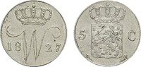 5 Cents 1827, Utrecht. NIEDERLANDE Wilhelm I., 1813-1840. Vorzüglich-st... 155,00 EUR  zzgl. 4,50 EUR Versand