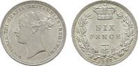 6 Pence 1887. GROSSBRITANNIEN Victoria, 1837-1901. Stempelglanz -.  125,00 EUR  Excl. 6,70 EUR Verzending