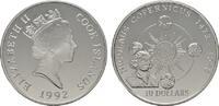 10 Dollars 1992. COOK ISLANDS Elizabeth II. seit 1952. Polierte Platte.  28,00 EUR  Excl. 6,70 EUR Verzending
