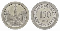 BAYERN 150 (Alu) 1921. Stempelglanz N&uuml;rnberg. 9,00 EUR 