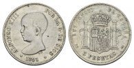 SPANIEN 5 Pesetas 1891(91). Sehr sch&ouml;n K&Ouml;NIGREICH Alfonso XIII., 1886-19... 35,00 EUR 
