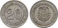 REICHSKLEINM&Uuml;NZEN 20 Pfennig 1887, A. Stempelglanz  feinst  100,00 EUR 