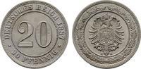 20 Pfennig 1887, A. Deutsches Reich  Stempelglanz  feinst  100,00 EUR  Excl. 6,70 EUR Verzending