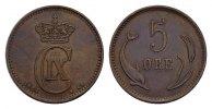 Ku.-5 Öre 1884, CS. DÄNEMARK Christian IX., 1863-1906. Kl. Randstauchun... 85,00 EUR  excl. 6,70 EUR verzending