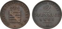 Ku.-2 Pfennig 1856, A. SACHSEN Carl Alexander, 1853-1901. Sehr schön.  6,00 EUR