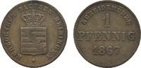 Ku.-Pfennig 1867 SACHSEN Georg II., 1866-1914. Sehr schön  7,00 EUR
