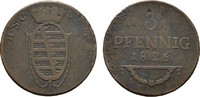 Ku.-3 Pfennig 1826 SACHSEN Ernst I., 1806-1826. Schön-Sehr schön  12,00 EUR