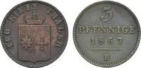 Ku.-3 Pfennig 1867. WALDECK Georg Victor, 1852-1893. Sehr schön.  6,00 EUR  Excl. 6,70 EUR Verzending