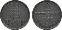 Ku.-2 Pfennig 1861 B HANNOVER Georg V., 1851-1866. Fast vorzüglich  9,00 EUR  Excl. 6,70 EUR Verzending