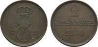 Ku.-2 Pfennig 1850 B HANNOVER Ernst August, 1837-1851. Vorzüglich  10,00 EUR  Excl. 6,70 EUR Verzending