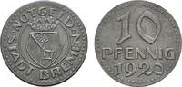 10 Pfennig 1920. BREMEN  Etwas rauh, sonst Vorzüglich.  5,00 EUR  Excl. 6,70 EUR Verzending