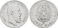 5 Mark 1876, F. Württemberg Karl, 1864-1891. Sehr schön  49,00 EUR  zzgl. 4,50 EUR Versand