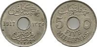 5 Milliemes 1917 H. ÄGYPTEN Husein Kamil, 1915-1917. Sehr schön +  7,00 EUR  zzgl. 4,50 EUR Versand