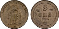 2 Öre 1889. SCHWEDEN Oskar II., 1872-1907. Kl. Randstoß, Vorzüglich.  5,00 EUR  Excl. 7,00 EUR Verzending