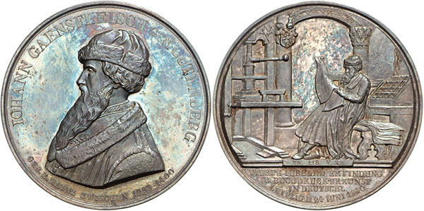 Medaille 1840 Buchdruck Medaille 1840 fast st
