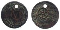 6 Pfennig 1597 Osnabrück, Std.  s, gelocht,  sehr selten  49,00 EUR inkl. gesetzl. MwSt., zzgl. 7,00 EUR Versand