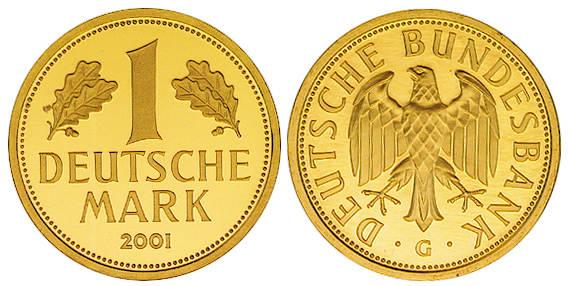 1 dm 2001 j brd deutschland 1 mark gold goldmark 2001. Black Bedroom Furniture Sets. Home Design Ideas