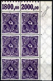 6 mal 20 Mark 1922 Deutsches Reich Deutsches Reich, Mi.-Nr. 230 W, Freimarken: Posthorn postfrisch