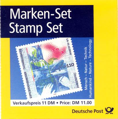 1 Markenheftchen 2000 Bund Bund, MH-Nr. 40, Weltausstellung EXPO 2000 postfrisch