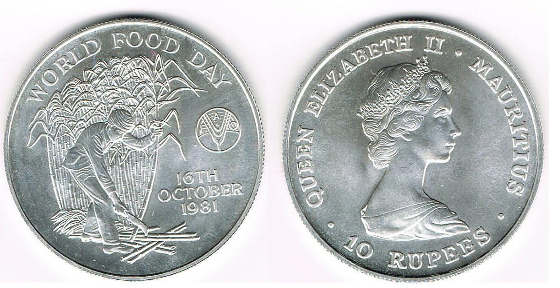 10 Rupees 1981 Mauritius Silbergedenkmünze FAO -World Food day, Landarbeiter Stempelglanz