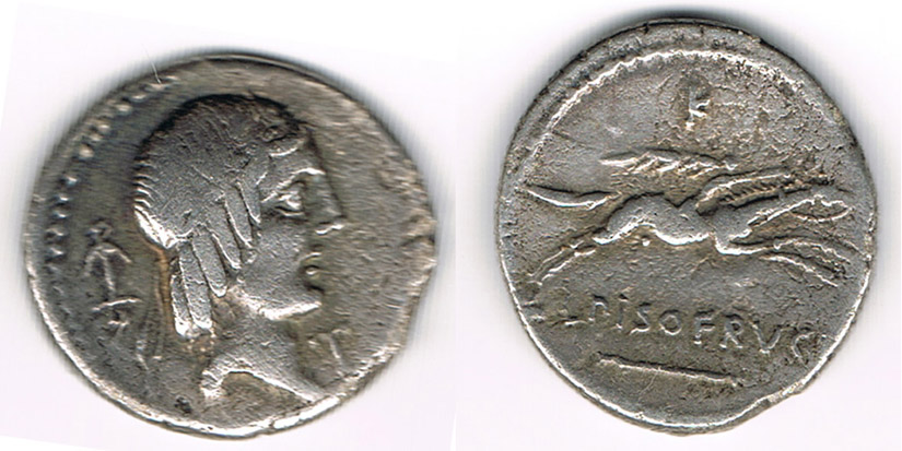 AR-Denar 67 v. Chr. Antike - Römische Republik C. Calpurnius Piso, Av. Apollokopf; Rv.: Reiter im Galopp, leicht korrodiert! fast sehr schön