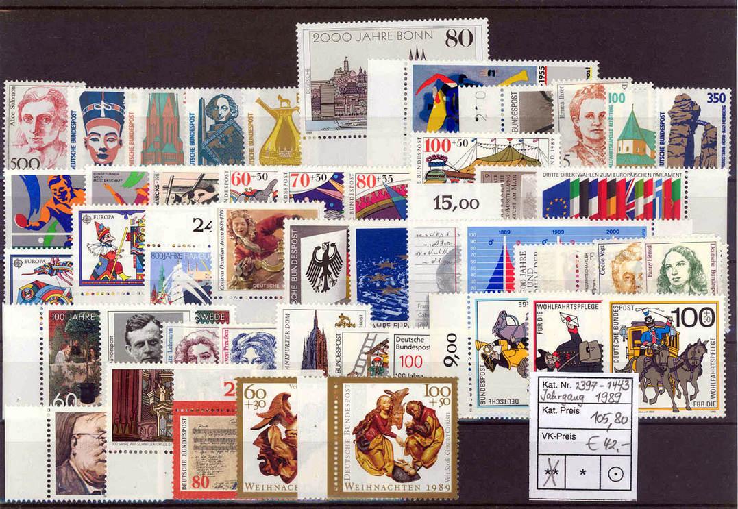 Jahrgang 1989 komplett 1989 BRD Briefmarken BRD, Jahrgang 1989 komplett postfrisch postfrisch
