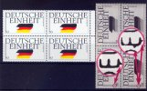BRD 4 x 50 Pfennig BRD, Mi.-Nr. 1477 I, <i>Deutsche Einheit</i> mit F 24 und F 29