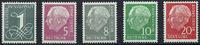 5 Werte 1954-57 BRD BRD, Mi.-Nr. 179, 182, 183, 185, 285 y II, mit Flur... 27,00 EUR  zzgl. 5,00 EUR Versand