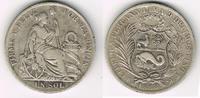 1 Sol 1888 Peru 1 Sol, sitzende Freiheit von Schild und Säule flankiert... 26,00 EUR  zzgl. 5,00 EUR Versand