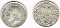 3 Pence 1914 Großbritannien 3 Pence 1914, Georg V., 1,4 g 925er Silber ... 5,00 EUR  zzgl. 5,00 EUR Versand