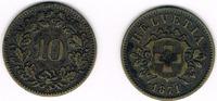 10 Rappen 1871 Schweiz Schweiz, Kursmünze 10 Rappen 1871, Erhaltung sie... 29,00 EUR  zzgl. 5,00 EUR Versand