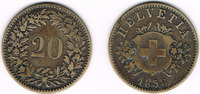 20 Rappen 1858 Schweiz Schweiz, Kursmünze 20 Rappen 1858, Erhaltung sie... 17,00 EUR  zzgl. 5,00 EUR Versand