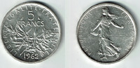 5 Francs 1962 Frankreich Frankreich, Silbermünze 5 Francs 1962, Säerin,... 7,50 EUR  zzgl. 5,00 EUR Versand